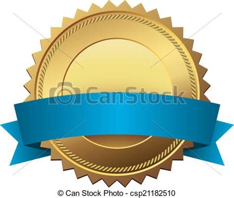 Vector Clip Art Of Blank Golden Quality Label With Blue Banner Vector Template Csp21182510 Quality Banner Templates