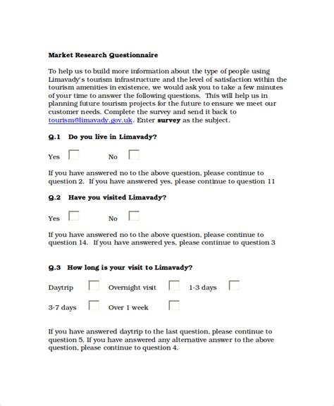 Questionair Template by Questionnaire Template Word 8 Free Word Document