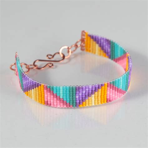 Braided Ribbons Bead Loom Bracelet Artisanal Jewelry