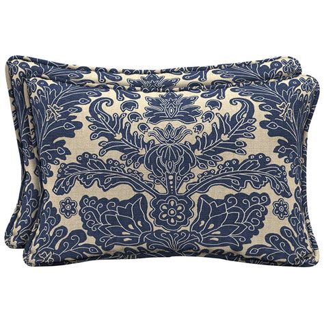 hton bay chelsea damask lumbar outdoor pillow 2 pack