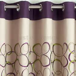 Urple and green curtains with retro hoops embroidery on coffee cream