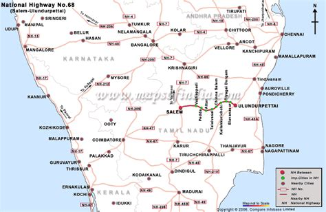 road map direction driving national highway 68 salem to ulundurpettal road map