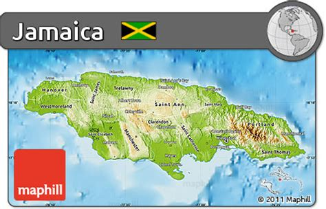 physical map of jamaica free physical map of jamaica