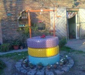 ideas para decorar un jardin con llantas de coche curiosas ideas pozo para el jard 237 n hecho con neum 193 ticos