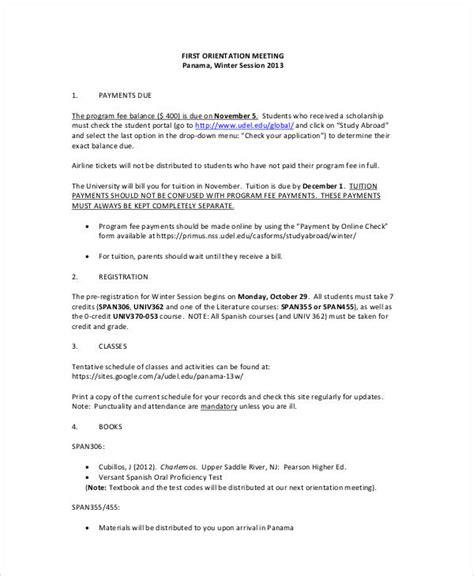 board member orientation agenda meeting agenda sle 30 exles in word pdf