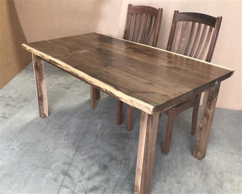 amish  custom  edge walnut dining tables wholesale