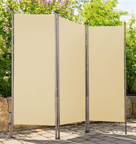 überdachung terrasse stoff paravent outdoor metall stoff creme beige sichtschutz