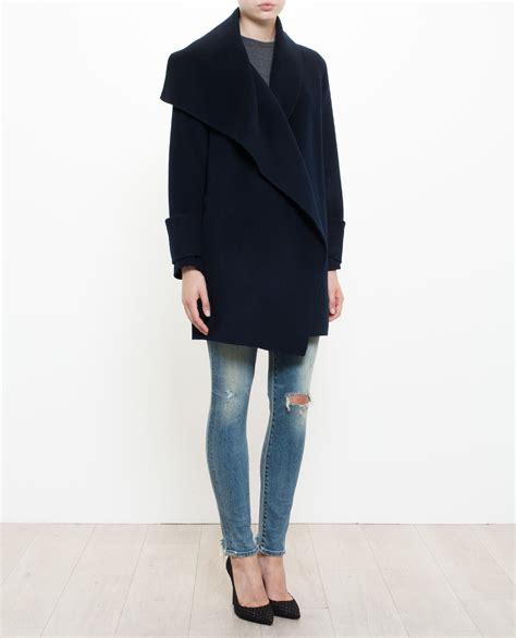 draped wool coat vince draped wool coat in blue lyst