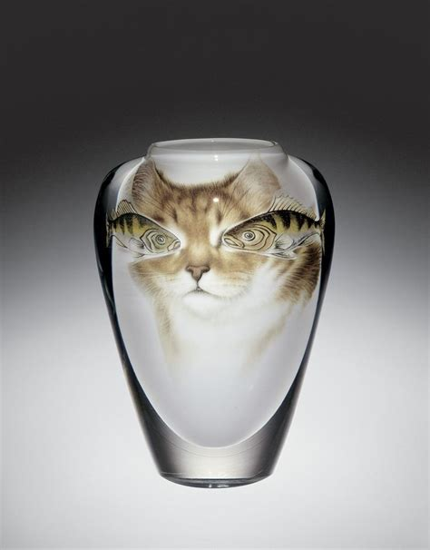 White Colorless Cat Eye cat fish glass vase designed by toan klein for gato