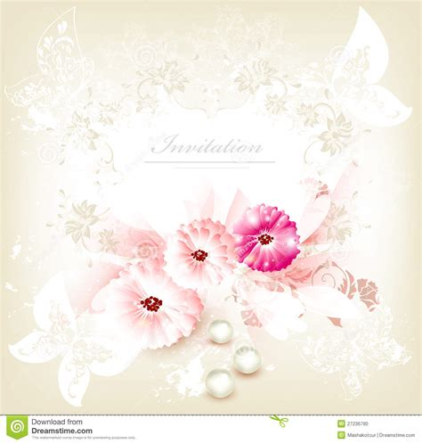 Wedding Card Flowers by Invitation Wedding Card With Flowers Stock Vector