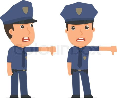 frustrated and angry character officer showing thumb as a symbol of negative for use in