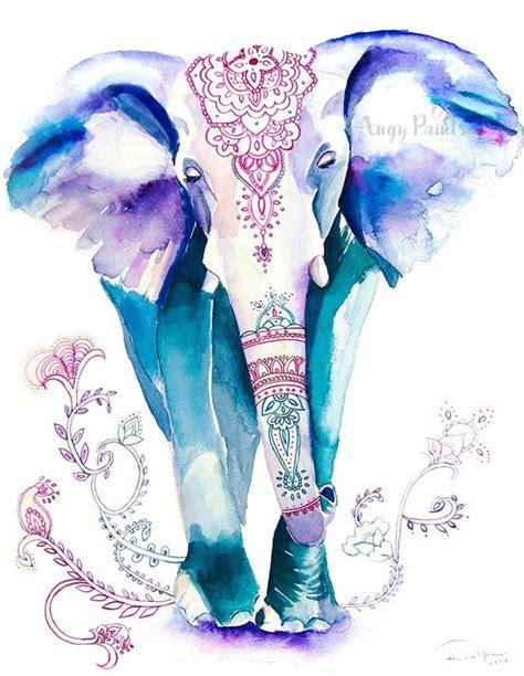 elephant painting animal watercolor animal print elephant