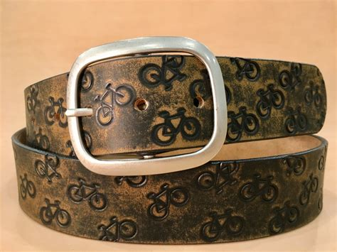 cycling bikes vintage aged leather belt handmade in usa