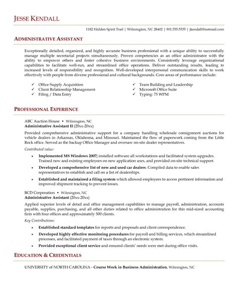 exle of a resume administrative assistant resume resume cv exle template