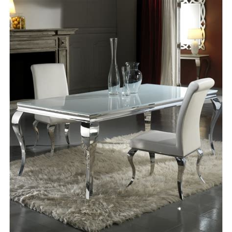 Louis 200cm White And Chrome Dining Table with 6 Sliver Chairs
