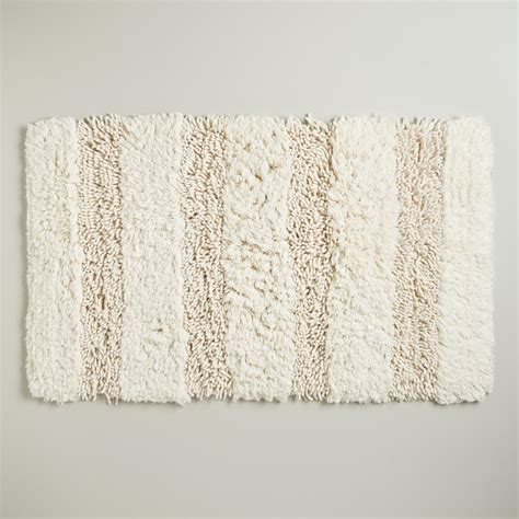 Shag Bathroom Rugs Ivory Hi Low Shag Bath Mat World Market