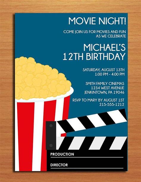 printable birthday invitations movie theme 16 best images about birth day cards for a movie on