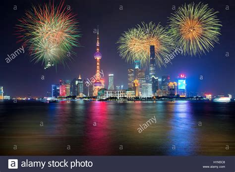 new year fireworks in shanghai fireworks in shanghai china celebration national day of