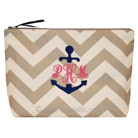 design   anchor monogram makeup bag