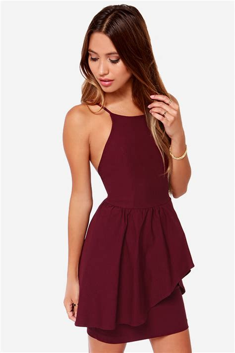 Ghaida Simple Choker Dress Maroon pretty burgundy dress cocktail dress 42 00