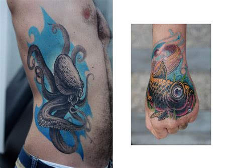 tattoo hand fish side hand octopus fish tattoo by darwin enriquez