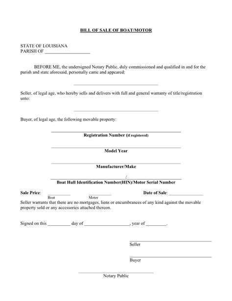 sle of notary free louisiana boat bill of sale form pdf word