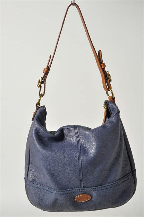 New Fossil Hobo Tote Shoulder Bag In Bag Seri 41218 2f fossil greying blue brown handle leather tote shoulder handbag hobo bag ebay