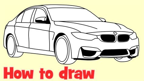 how to draw a car how to draw a car bmw m3 sedan step by step drawing
