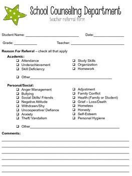 Editable School Counseling Teacher Referral Form By Smile Counseling School Counseling Notes Template