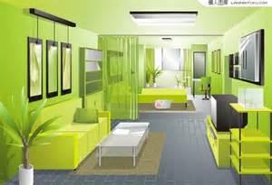 fresh green living room design renderings vector