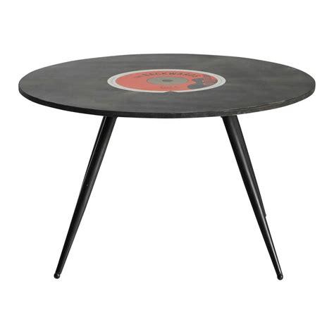 wooden vintage coffee table in black d 70cm vinyl