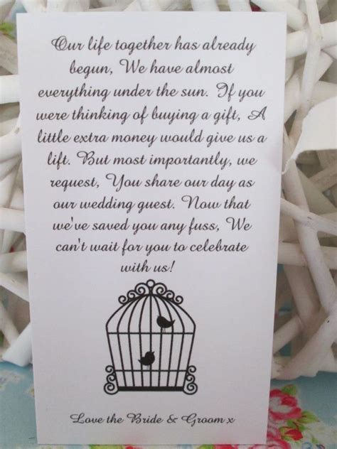 Wedding Gift Money Poem by 25 Wedding Money Poem Cards For Your Invitations Free Uk