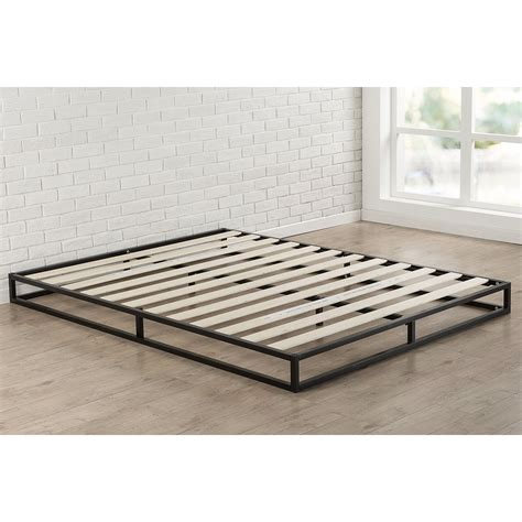 King Size 6 Inch Low Profile Metal Platform Bed Frame With Low Profile Wood Bed Frame