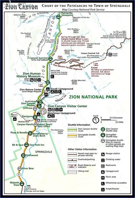 zion park map zion park map utah toursmaps