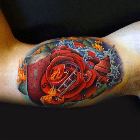 flaming rose tattoo 100 inner bicep designs for manly ink ideas