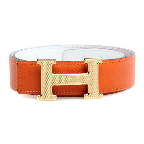 Hermes Belt Box Calf Leather And Epsom Leather With Gold Hardware In Orange With White Colors
