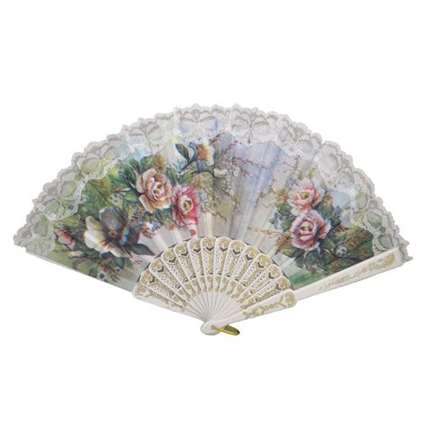 how to make a hand fan with fabric hollow out rib peony print lace trim folding fabric hand