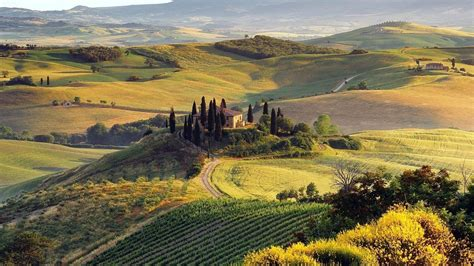 nature landscape italy field hill tuscany wallpapers