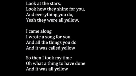 black and yellow testo coldplay yellow meaning