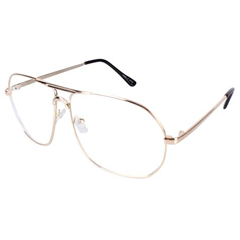 encacc aviator clear lens glasses eyeglasses gold metal frame