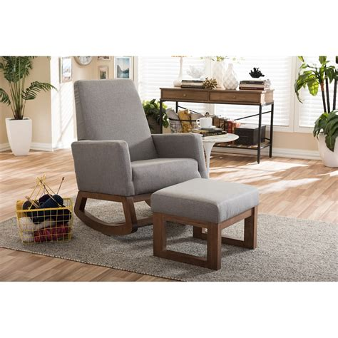 upholstered chair and ottoman sets baxton studio yashiya mid century retro modern grey fabric