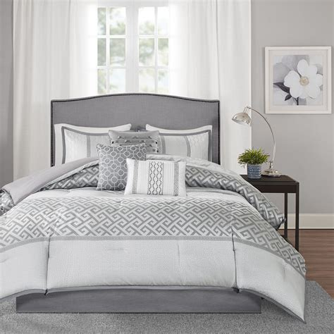beautiful grey charcoal silver geometric comforter 7 pcs