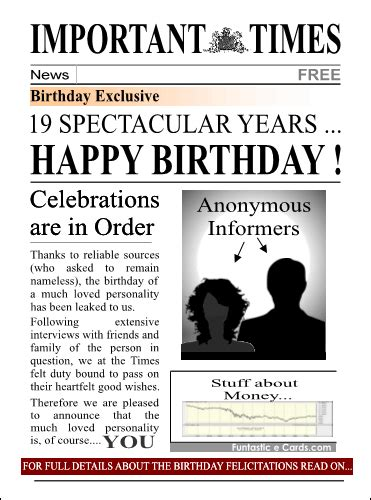 birthday card newspaper templates free milestone birthday cards for 18 21 30 40 50 60 70