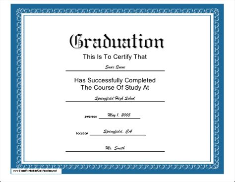 graduation certificate templates free sles of graduation certificates