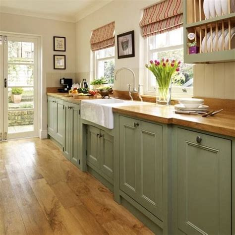 Painting Butcher Block Countertops - green cabinets and butcher block counter top or paint the