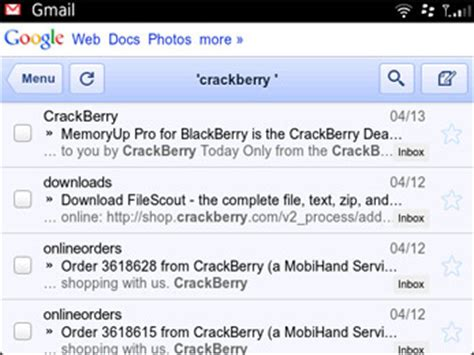 Search A Gmail Address Gmail Mobile Site Now In Html5 Crackberry