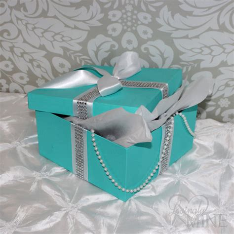 blue centerpiece boxes centerpiece box with pearls and rhinestone ribbon by