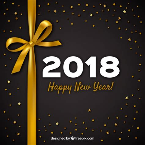 new year gift set 2018 new year 2018 background with golden bow vector free