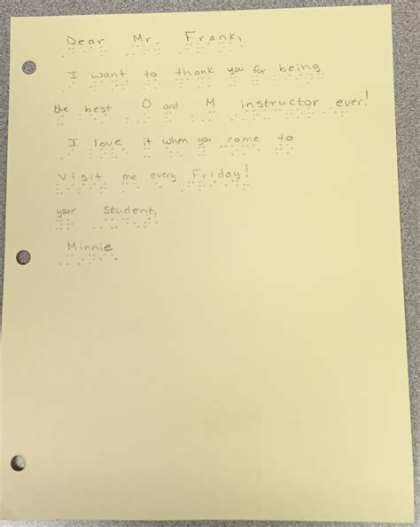 thank you letter to a figure teaching students with visual impairments to write a thank