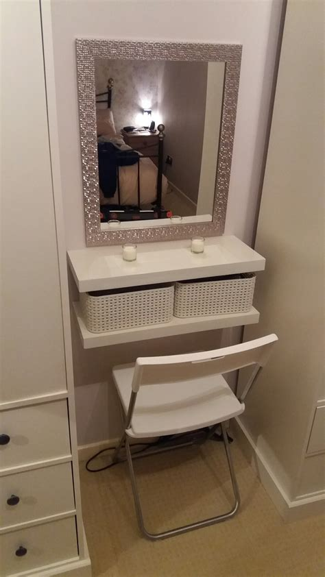 Vanity Shelves Bedroom by Diy Dressing Table 2 Floating Shelves Crates Seat And